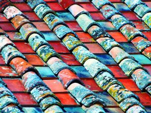 Detail of tiled roof in Anghiari, Italy