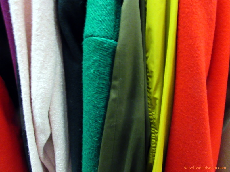 On The Rack - coats on sale in a department store