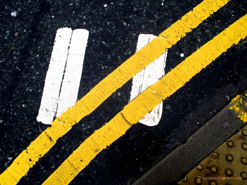 Road markings double yellow and double white lines
