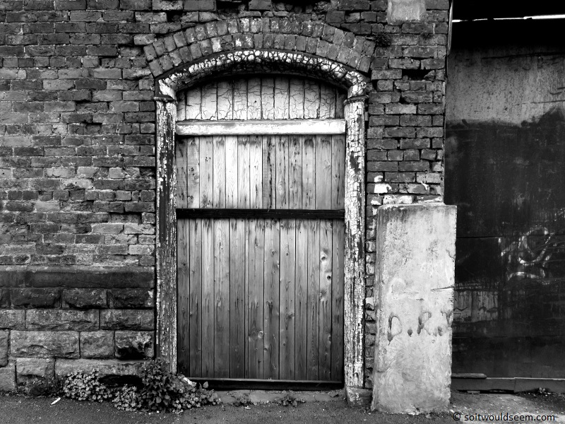 old factory door in bury