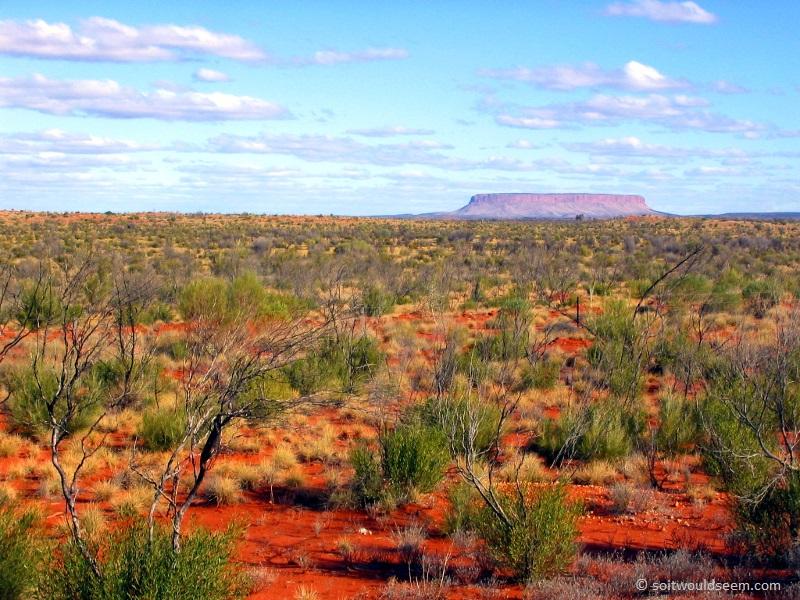 "Yulara - Uluru (""Ayers Rock"") from the Yulara road, Australia"