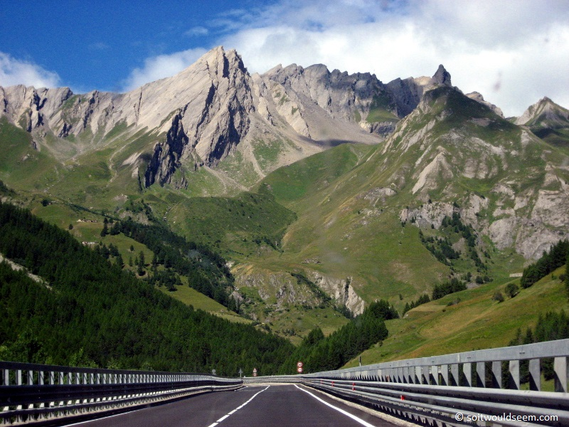 Grand St Bernard - the entry road to the St Bernard tunnel under the Alps, leading from Italy to Switzerland