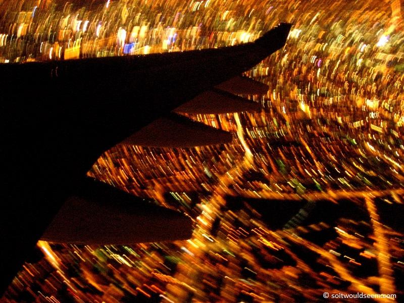 aircraft over london at night