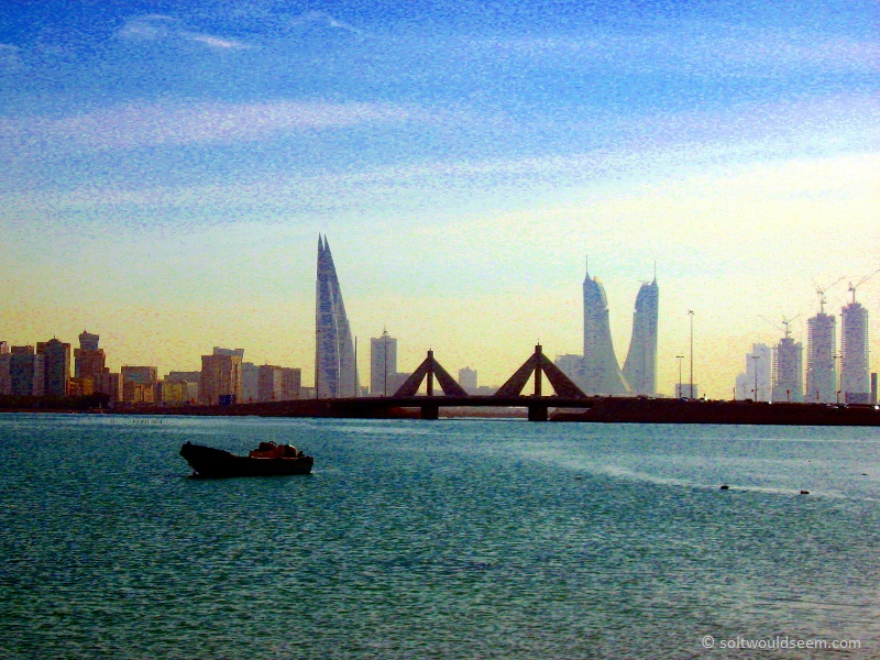 city sea and bridge bahrain