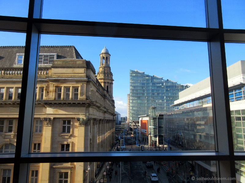#Manchester - a framed view of Market Street seen from the Arndale Food Court