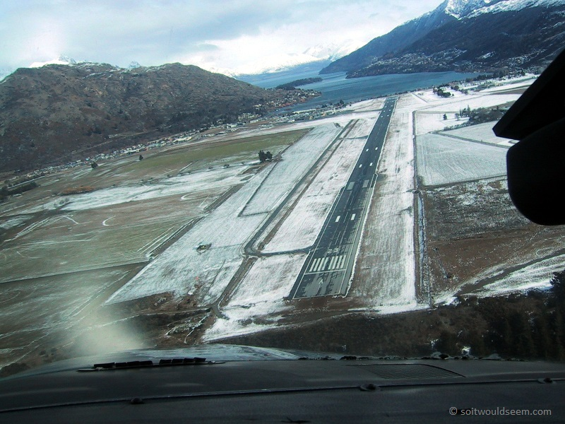 Airport - Coming in to land at Queenstown (New Zealand) Airport