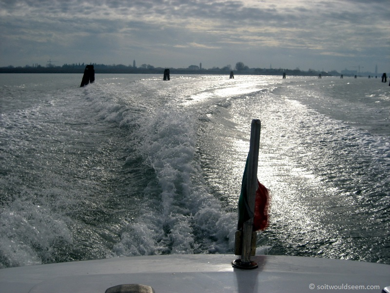 Venice Lagoon - on the water taxi from Venice City across the Lagoon to the airport